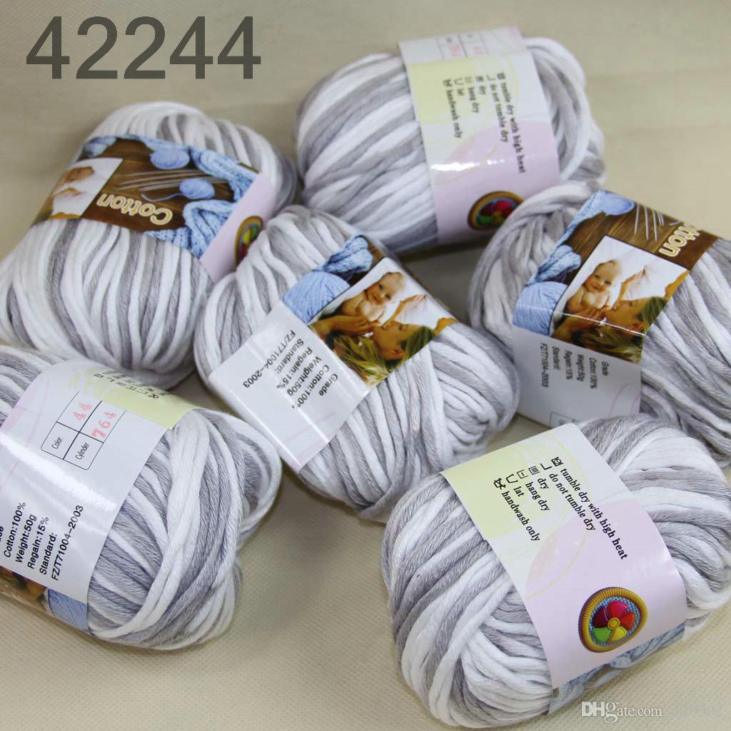 Много 6 BallsX50g специального толстая камвольно 100% хлопок вязание пряжа Белый 2244
