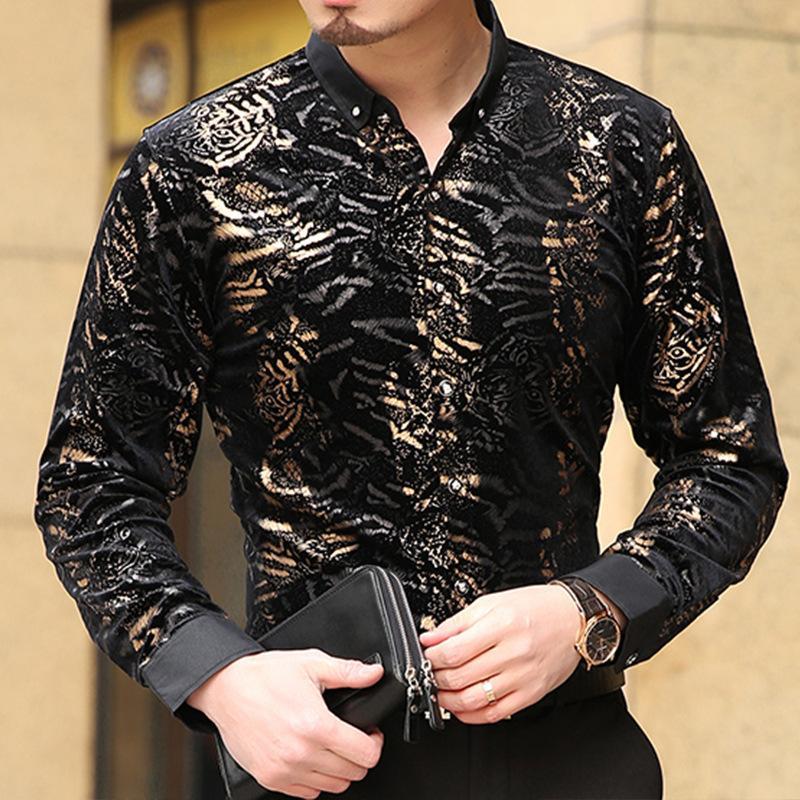 Wholesale- hommes authentine personnalité imprimé gustsiness gold qualité d'arrivée nouvelle chemise casual chemise léopard boutique velours mode s- ddea