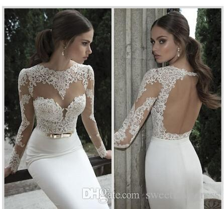 billige Spitze Meerjungfrau Brautkleider Jewel Neck Langarm Illusion Sheer Appliques Lace zurück Backless Formale Brautkleider