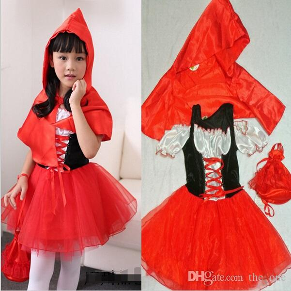 Girls Childrens  Little Red Riding Hood Costume Halloween Cosplay Fancy Dress UK