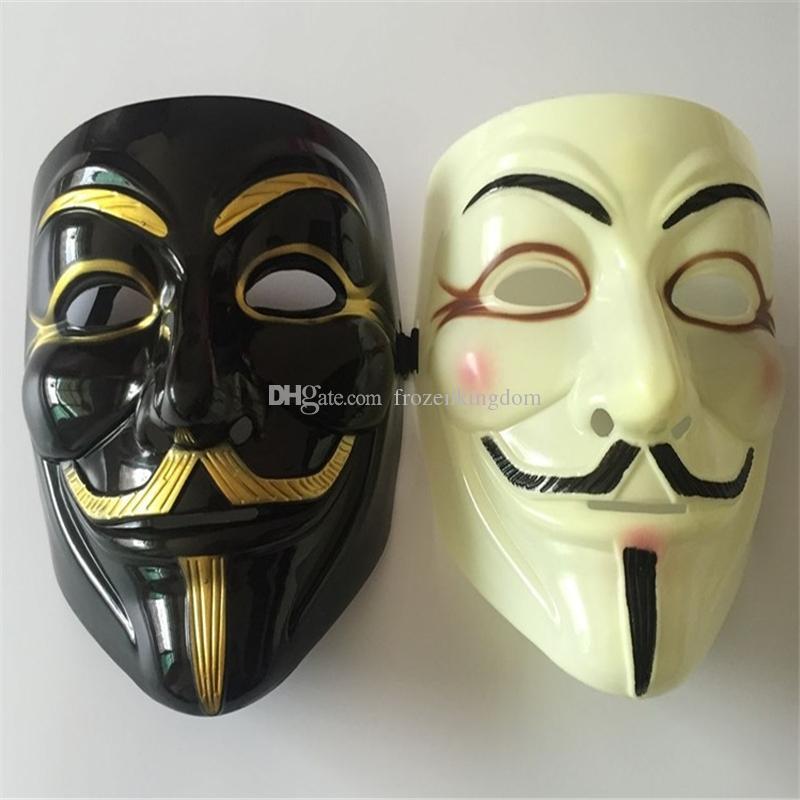Atacado 100 pcs Máscara de Halloween Com Delineador de Ouro V para Vingança Máscara Guy Fawkes Partido Traje Máscara DHL Fedex Frete Grátis a170-a177