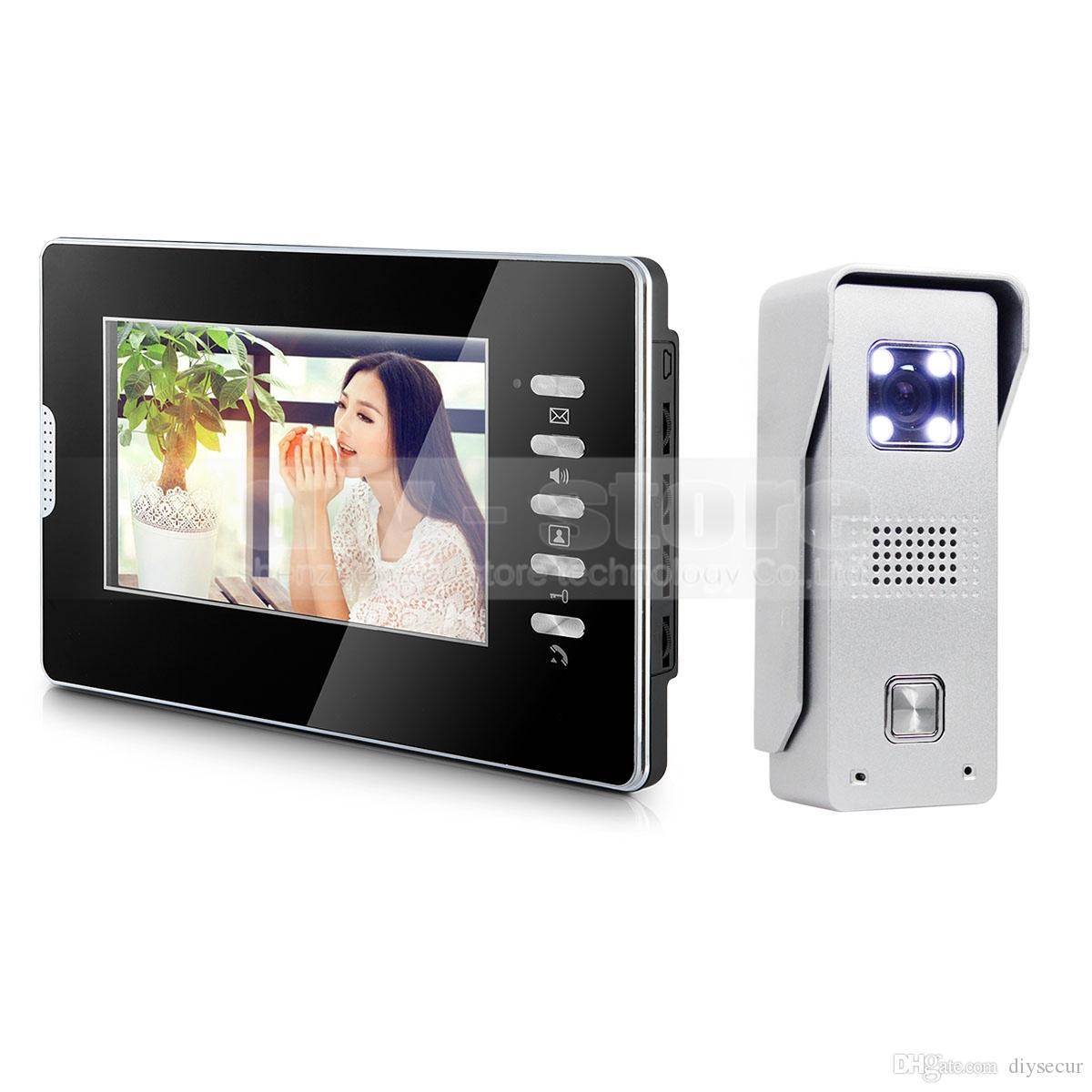 "Video Door Phone Intercom System 7"" Color LCD Monitor 700TVL LED Color CMOS Camera 1 v 1"