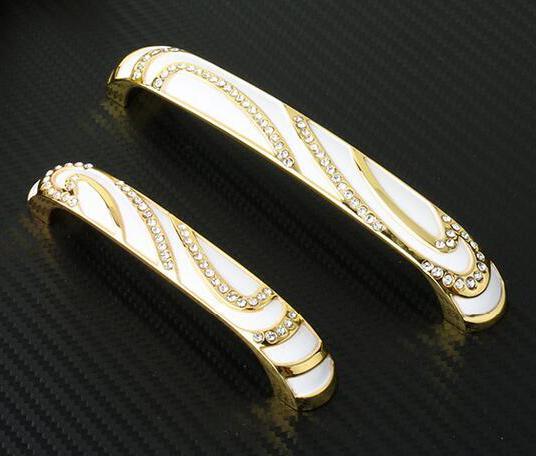 2pcs Gold Crystal Rhineston Diamond Furniture Hardware Knobs Drawer Wardrobe Kitchen Cabinets Cupboard Dresser Handle Pulls Door Accessories