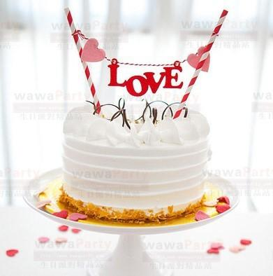 Atacado-Amor coração casamento cupcake toppers favores e presentes bolo bandeiras bandeira para cozimento decoração crianças tema do aniversário suprimentos