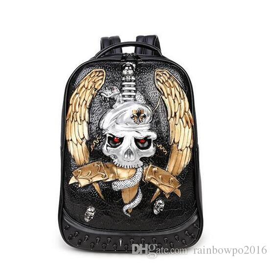 Fábrica de vendas da marca masculina pacote 3D animal personalidade personalidade tendência vento legal rua punk mochila rebite 3D crânio estéreo mens mochila