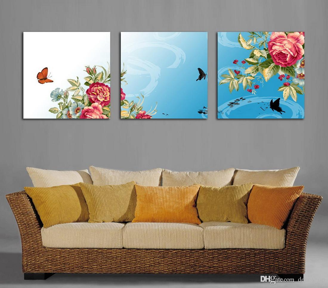 Beautiful Peony Flowers Fine Floral Painting Giclee Print On Canvas Home Decor Wall Art Set30209