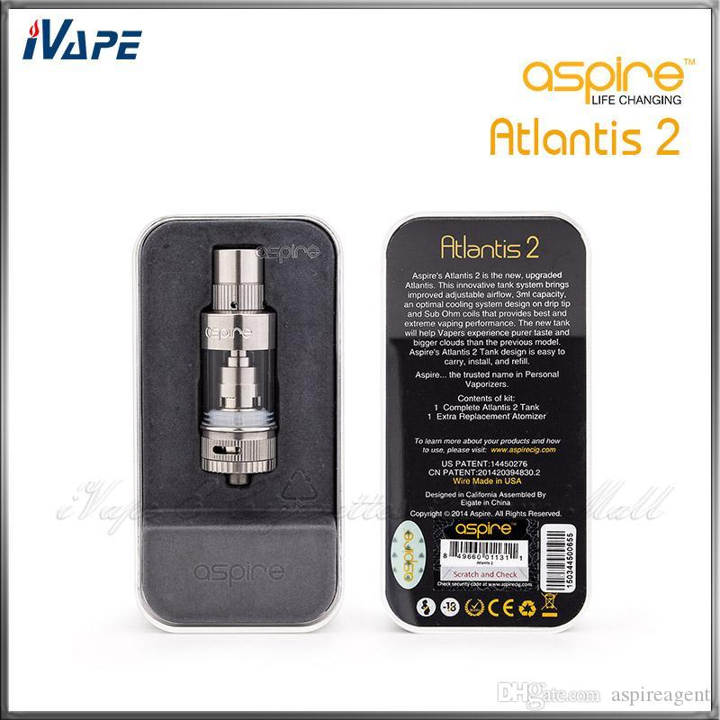 Authentic Aspire Atlantis 2 Tank 3.0ml Adjustable Airflow Atomizer Aspire Atlantis V2 Sub Ohm Coil Clearomizer With Optimal Cooling System
