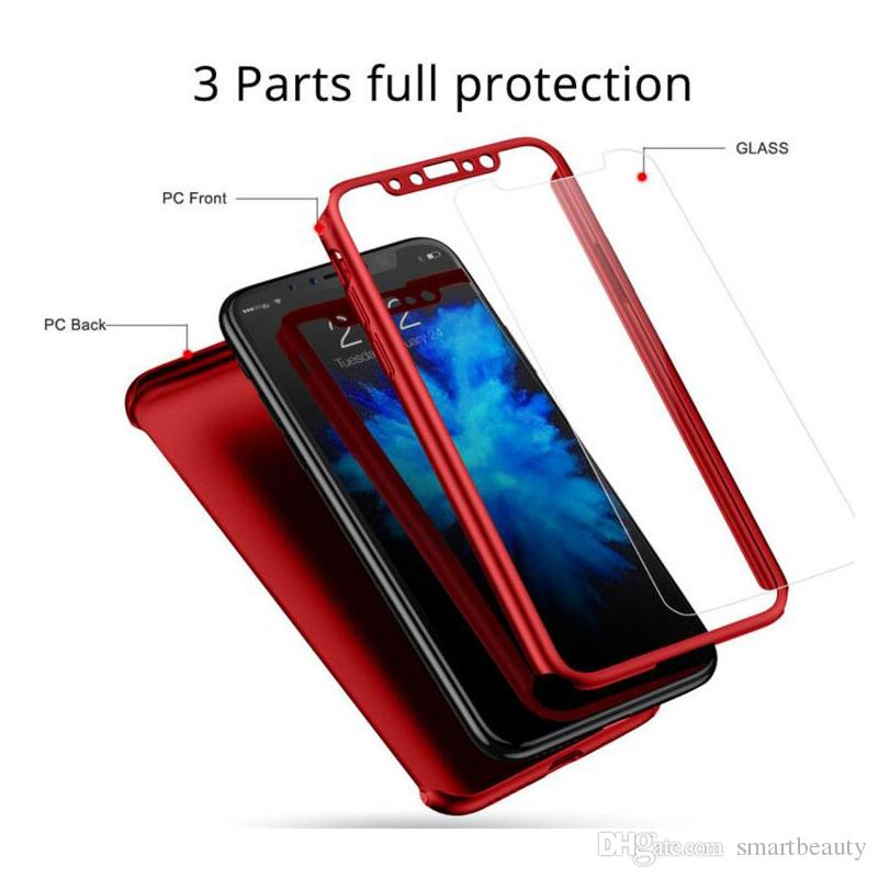 Full Cover 360 Degree Matte PC phone case for Iphone XS XR XS Max with screen protector full cover Back Case Phone Cover