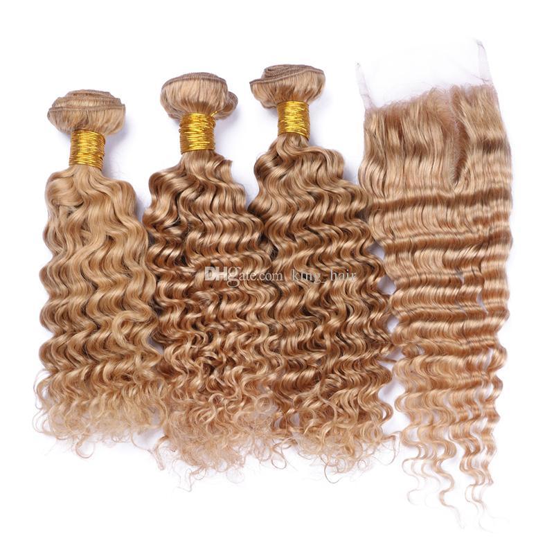 La venta caliente Honey Blonde # 27 malasia de onda profunda paquetes de cabello humano con cierre de encaje parte libre # 27 cierre de encaje con el pelo teje