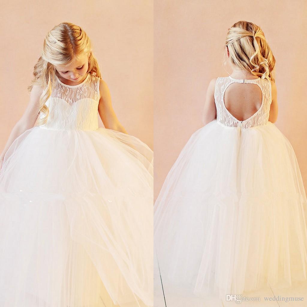 2020 Vintage Çiçek Kız Elbise İçin Düğün Abiye Kat Uzunluk Dantel Tül Kolsuz kızlar Pageant doğum günü partisi Elbise