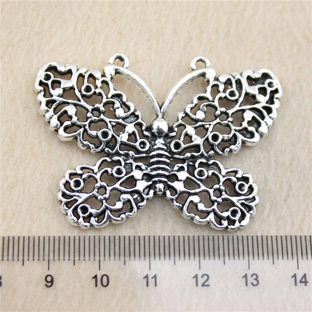 7pcs 51 * 37mm antik Gümüş Tonebutterfly Charms Çinko Alaşım DIY El Yapımı Takı Kolye Toptan