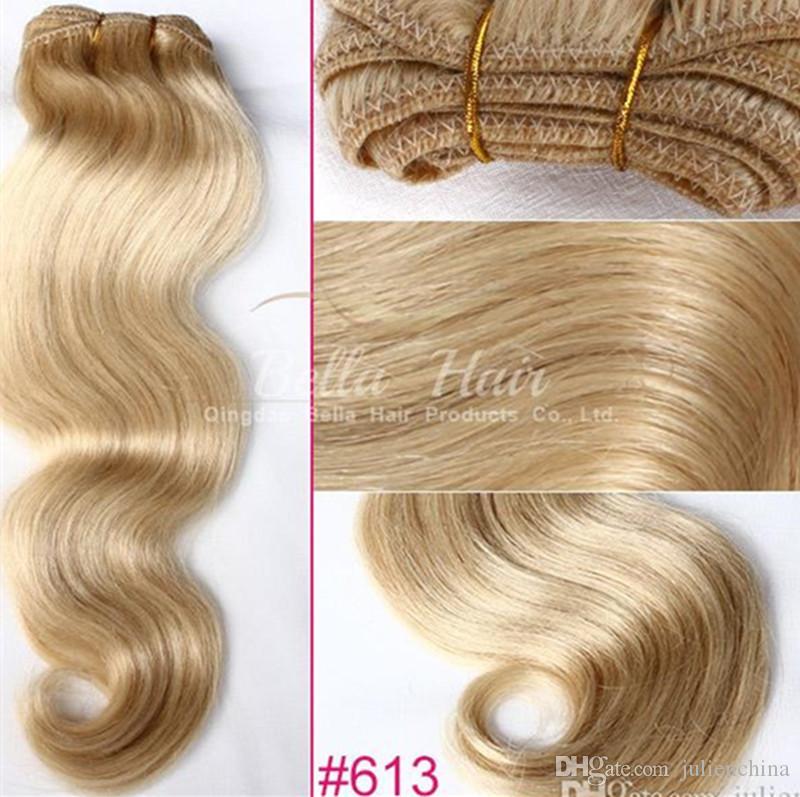 موجة الجسم 14 -24 بوصة الشعر البرازيلي شقراء الشعر البشري لحمة الشعر الطبيعي 100g / p حرية الملاحة