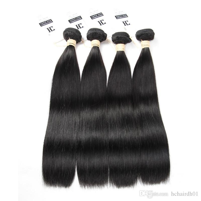 HC 헤어 제품 말레이시아 버진 헤어 스트레이트 인간의 머리카락 직조 자연 색상 4PCS / LOT 처리되지 않은 스트레이트 버진 헤어 무료 배송