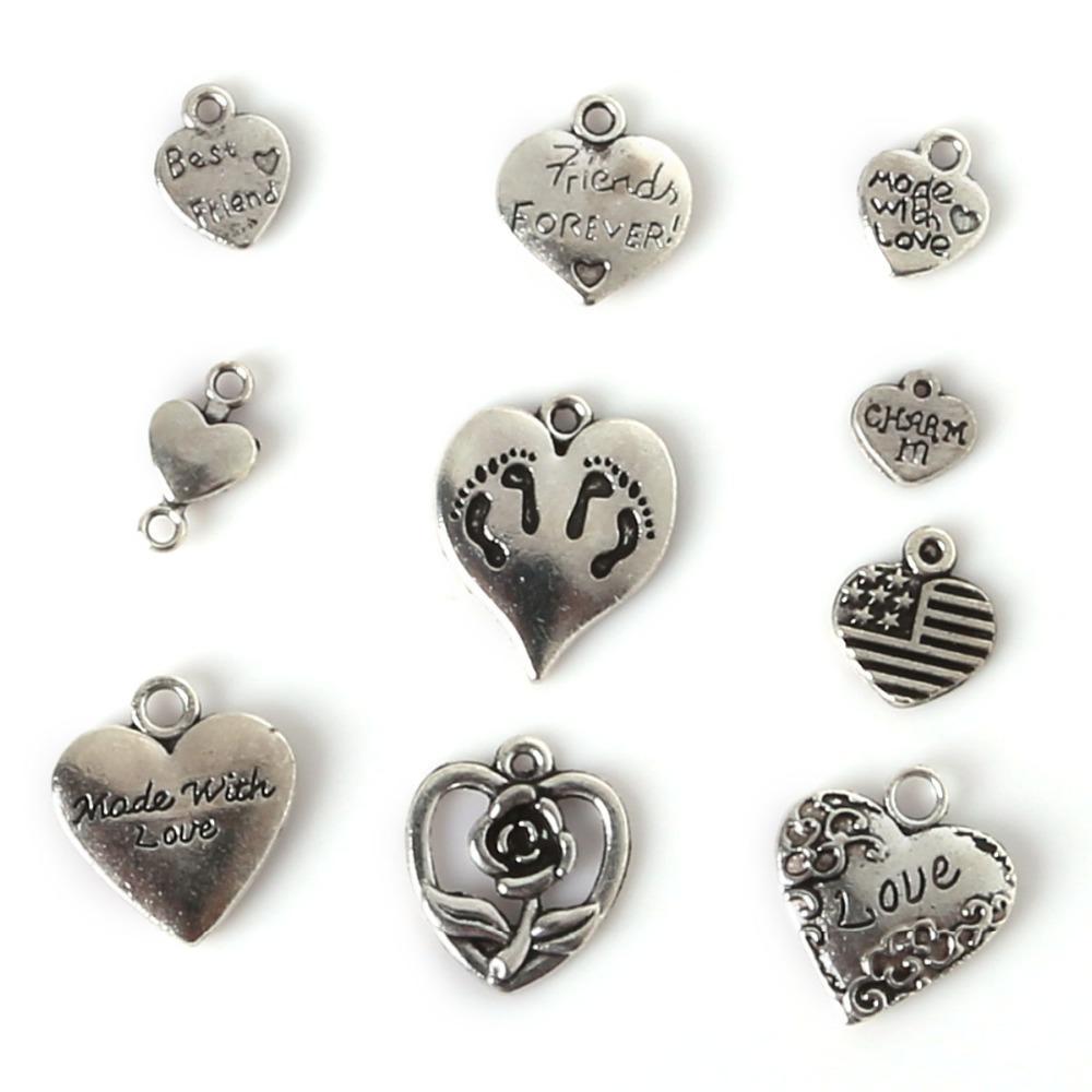 Free shipping 117pcs Mixed Tibetan Silver Plated Heart Love Charm Pendant Statement Jewelry Making DIY Handmade Jewellery Mix Lots DIY jewe