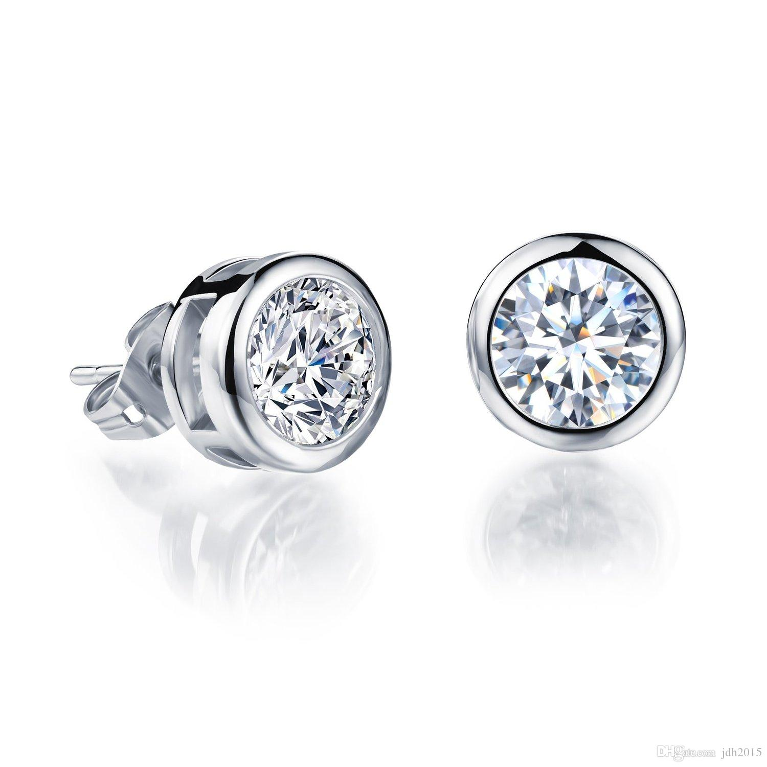 Platinum Plated or Gold Plated Round Cut Cubic Zirconia Crystal Bezel Set Stud Earrings 5mm/6mm/10mm