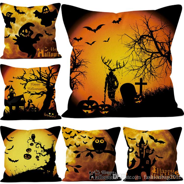 Pillow Cases Halloween Funny Ghost pumpkin Tree Square Cotton Linen Pillow case Shams Comfortable Home Halloween Decorations 45*45 CM