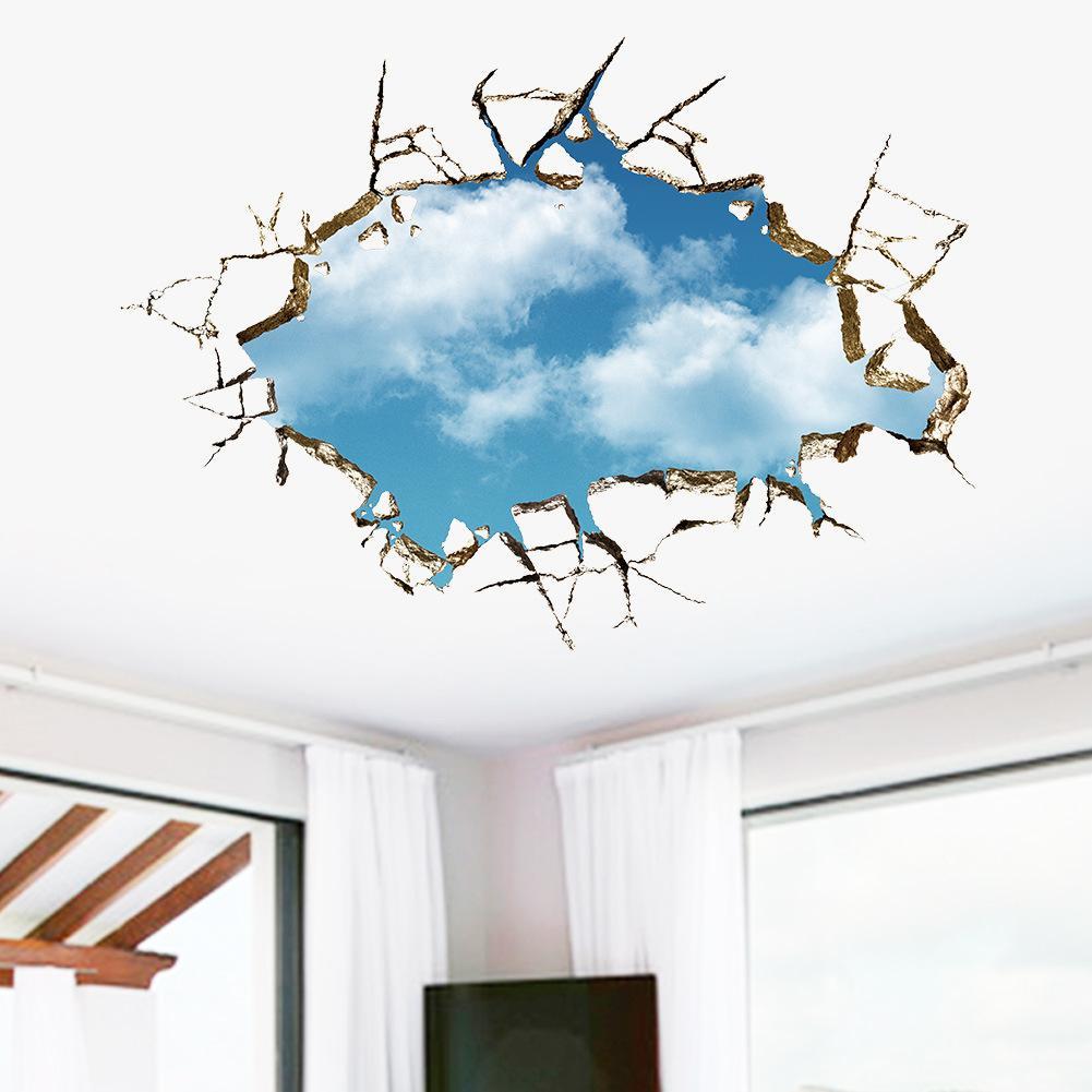 La más nueva ventana 3D vista del agujero de la ventana del paisaje azul cielo nube blanca etiqueta de la pared etiqueta de la casa techo de la casa Adesivo de parede Mural