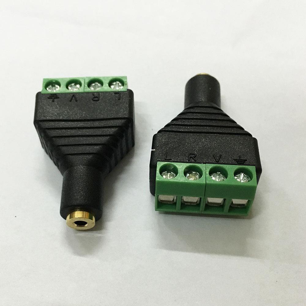 20Pcs/lot 3.5mm 4Ploe 1/8 Inch Stereo Female Plug to AV Screw Video Balun Terminal Jack 3.5mm Female 4Pin Terminal Block Connector