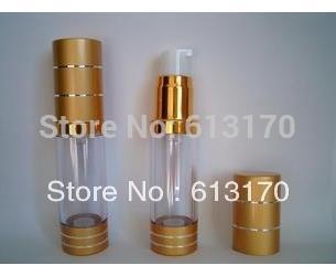 15 ml vazio Airless garrafa recipiente cosmético garrafa de vácuo da bomba de recipiente de ouro frete grátis