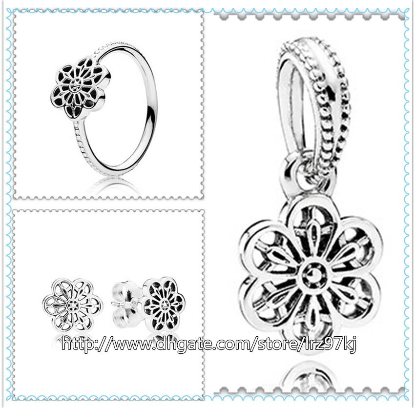 925 Sterling Silver Ring Brincos e Jóias Encantos Pingente Define com Caixa Se Encaixa Jóias Europeus Pulseiras Colares-Floral Daisy