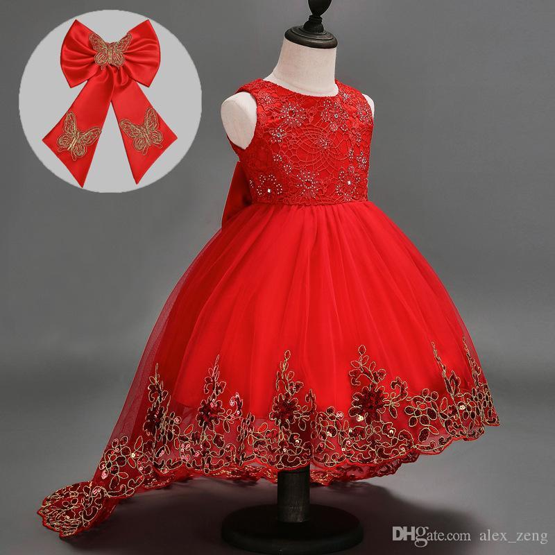 Baby Girls Dress Short Sleeve Tutu Lace Bow Princess Dresses Kids Dancing Wedding Floor-Length Dress Girl Party Princess Dress 3 Colors