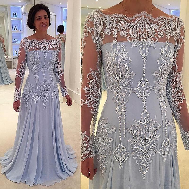 2020 Sexy Sky Blue Mermaid Матери невесты Groom платья Длинные рукава с плеч Кружева Аппликации бисером платья мати платьев венчания гостей