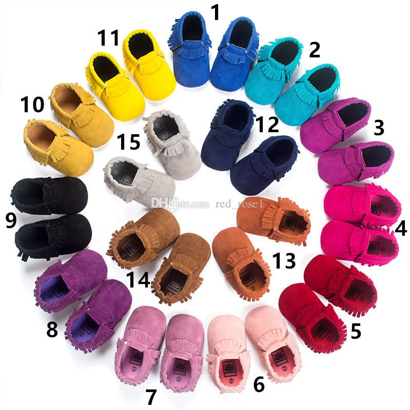 15 colores Baby Fir Mocasines para bebés Suela blanda 100% cuero genuino primeros zapatos para caminar recién nacido Bebé zapatos de textura mate Borlas zapatos maccasions