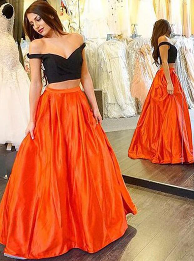 2016 Black Long Prom Dresses Off Shoulder 2 Piece Prom Dress Taffeta A Line Orange Women Special Occasion Events Evening Party Gowns Online
