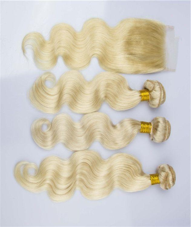 9A Vierge Cheveux blonds malaisiens avec fermeture 4Pcs Lot Vague de Corps 4x4 Dentelle Top Fermeture Avec # 613 Bleach Blond Cheveux Vierges 3Bundles