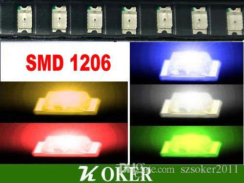 1000 pz SMD 1206 (3216) Bianco Rosso Blu Verde giallo LED Lampada Diodi Ultra Luminoso SMD 3216 1206 SMD LED Spedizione gratuita