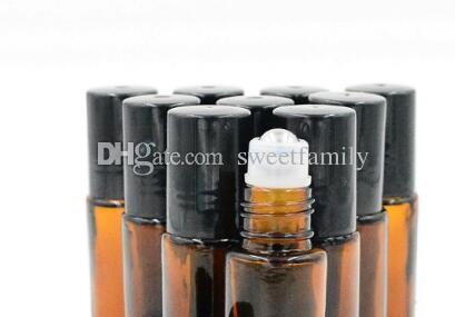 10 ml (1/3 oz) AMBER Rolo De Vidro Grosso Em Óleos Essenciais Garrafa + Bola De Rolamento de Aço Inoxidável POR DHL Frete Grátis 1000 pçs / lote