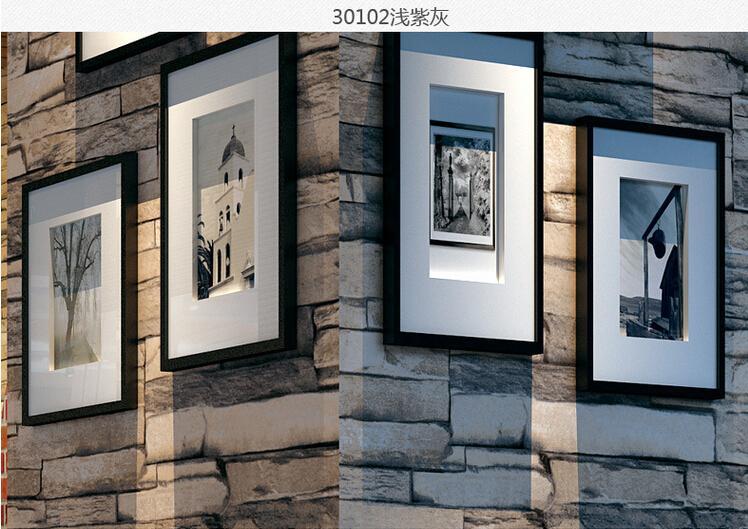 Hot 3D Luxury Wood Blocks Effect Brown Stone Brick 10M Vinyl Wallpaper Roll Living Room Background