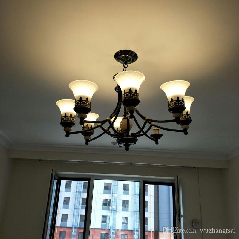 American Lobby hall Foyer ceiling light lamp vintage retro antique up down glass lamp shade Iron semi-flush ceiling lamp light