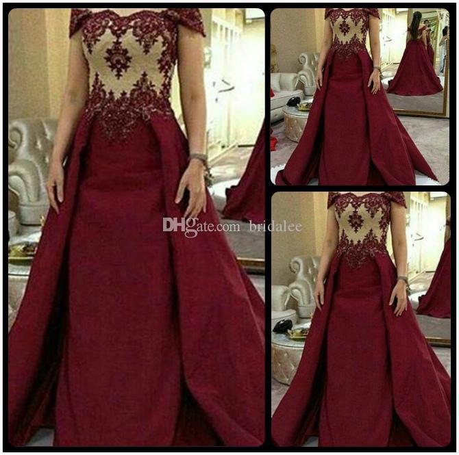2016 Sexy Borgoña Vestidos de baile largo elegante del satén del cordón del vestido de noche vestido de lujo formal por encargo