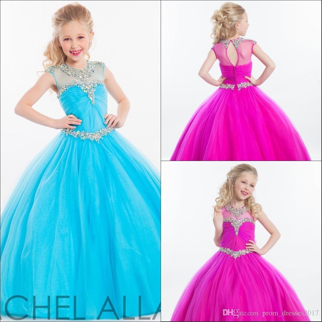 2020 Tulle Plum Ball Vestido de Bola Vestidos Rachel Allan Sheer Decote Strass Crianças Frisadas Formal Formal Flor Flor Girl Dress Dress Hy1140
