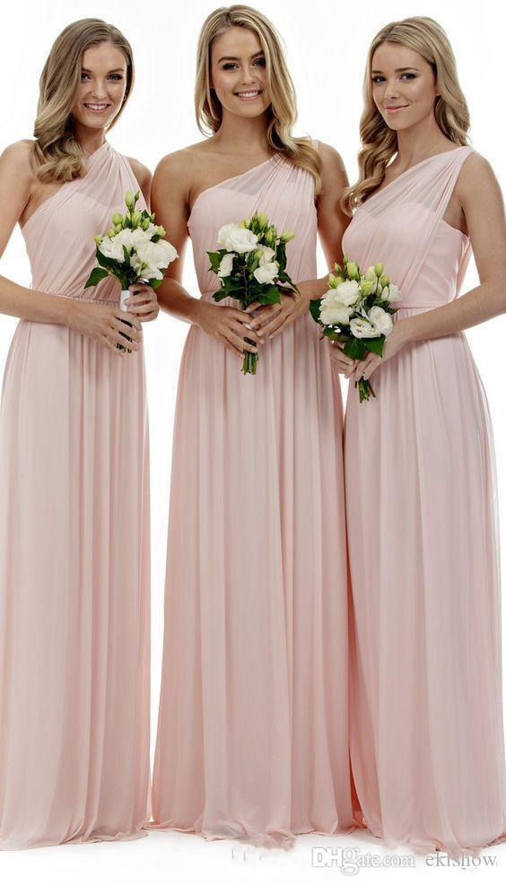 2017 Christmas Gift Simple Pink Chiffon Bridesmaids Dresses Long Sexy One Shoulder Cheap Country Arabic Mermaid Wedding Party Gowns