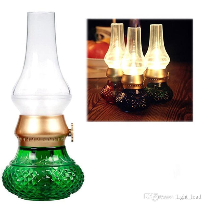 LED Lampada ricaricabile a soffio ricaricabile USB Retro Lampada classica a cherosene a controllo soffiante Lampada da comodino dimmerabile da comodino