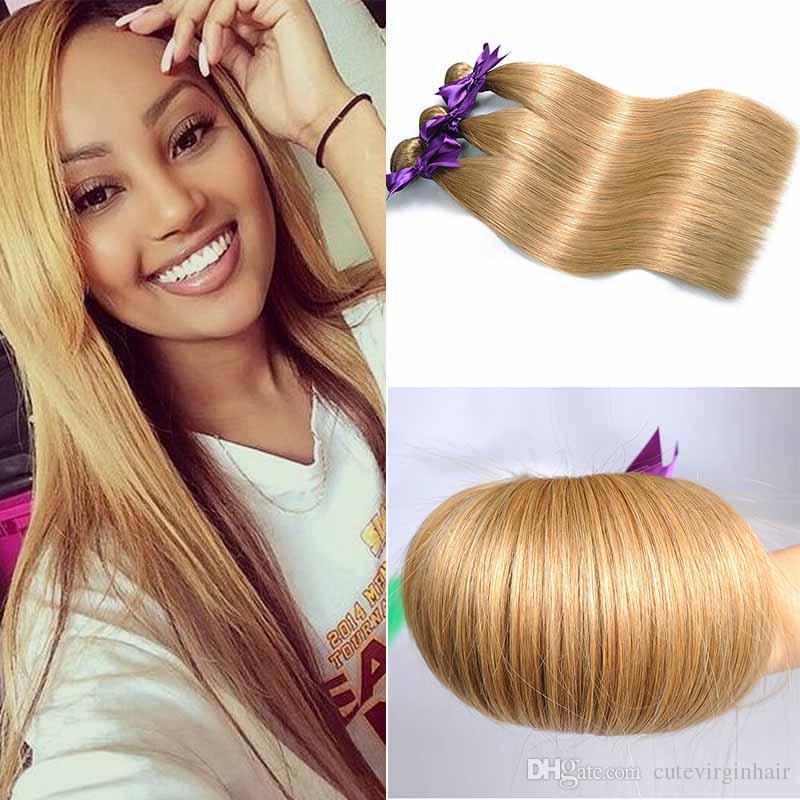 Colored Peruvian Hair 3 Bundles Straight 27 Clour Blonde Honey Human Hair Style Brazilian Peruvian Malaysian Virgin Human Hair Weaves Human Hair