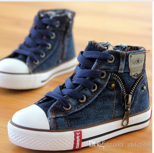 وصل 14 نوعا جديد الحجم 25-37 أحذية الأطفال أطفال قماش أحذية الأولاد جينز شقق بنات أحذية الدينيم الجانب سستة الأحذية