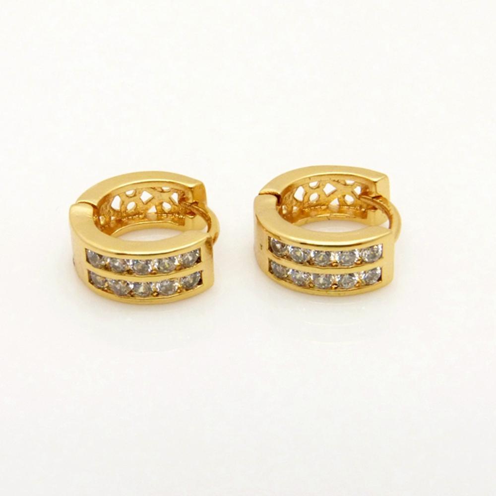 Orecchini a cerchio riempiti in oro giallo 18 carati con zirconi cubici per 2 donne / donna / ragazza