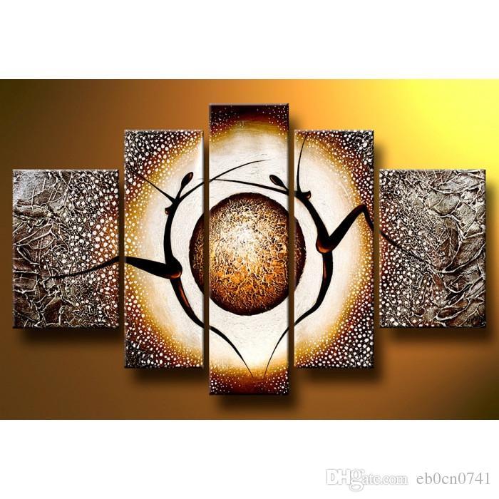 Moderne dekorative Bilder der Ölgemälde 5 PC / Satz tanzen abstrakte Kunstsegeltuch handgemaltes einzigartiges Geschenk