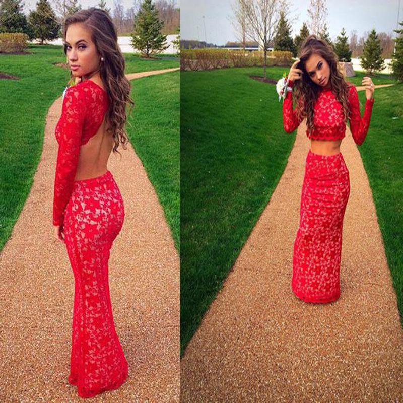 Bainha Red Lace Dois peice Vestidos de Baile Até o Chão Vestidos de Festa oco Vestidos de Festa Vestidos de Festa à Noite À Noite
