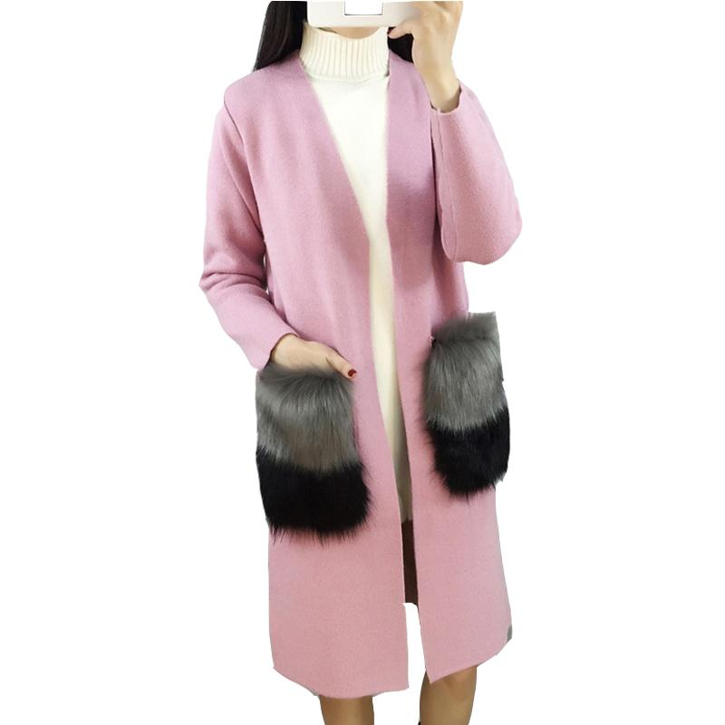 Atacado-2016 Nova Venda Quente Outono Mulheres Moda Cashmere Cardigan V-Neck Thirt Camisa Slim Coreana Versão Feminino Fêmea Camisola Longa C99