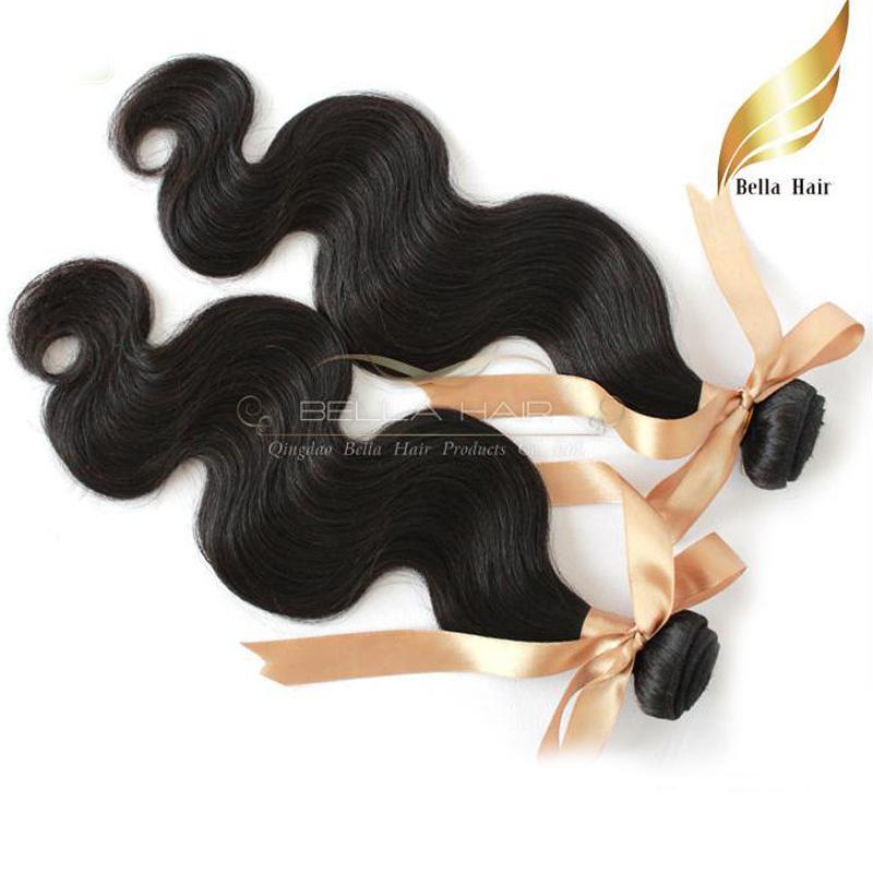 """Virgin Hair Extensions Mongolian obearbetade hårväv 8 """"-30"""" 1pc kroppsvåg Vågig naturlig färg dubbel väft DHL Bellahair"""
