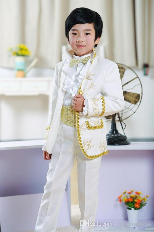 New Fashion Boys Suits Ring Bearer White Tuxedos for Children 2016 Wedding Party Prom Kids Formal Wears with Gold Purfle(Jacket+Pants+Bow)