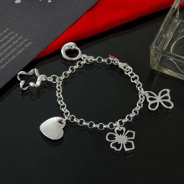 Directo de fábrica al por mayor de plata de ley 925 pulsera adornos de plata que cuelga el centro del corazón 5