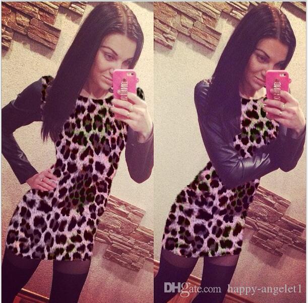 Новая осень женщины леопардовый клуб сексуальное платье тонкий хип Bodycon повязки лоскутное искусственная кожа с длинным рукавом O шеи платье