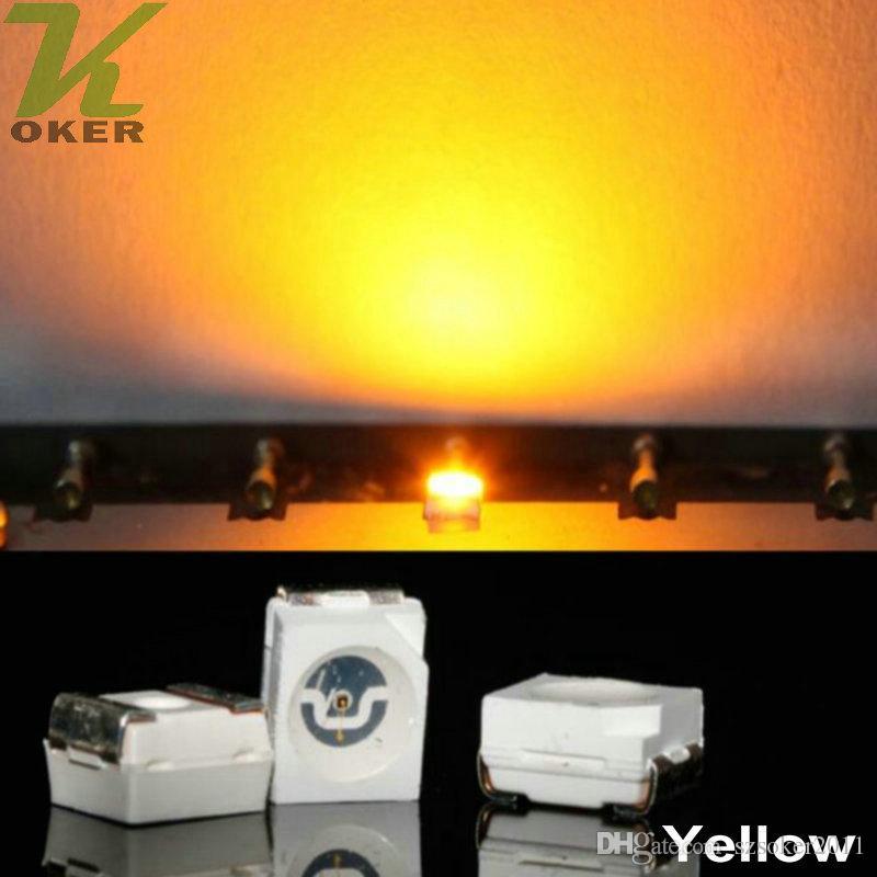 10000pcs / Reel Giallo PLCC-2 SMD 3528 (1210) Diodi lampada a LED ultra luminosi