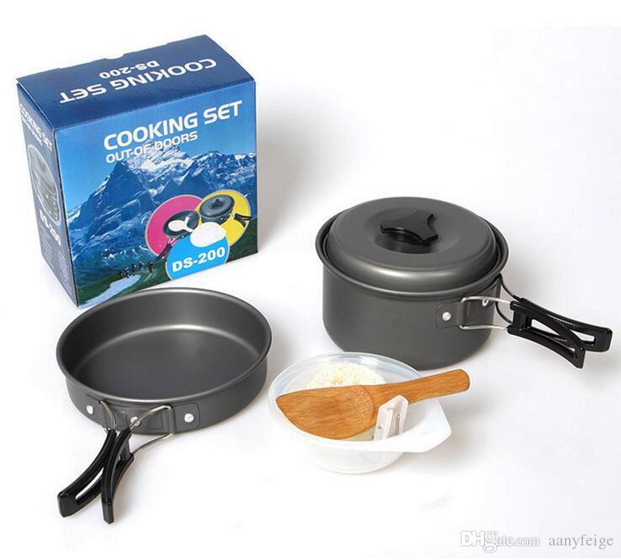 Lightweight Camping Backpacking Pot Pan Bowl Cooking Set, Portable Anodized Aluminum Cooking Ware Cookware Picnic Bowl Pot Pan Kits