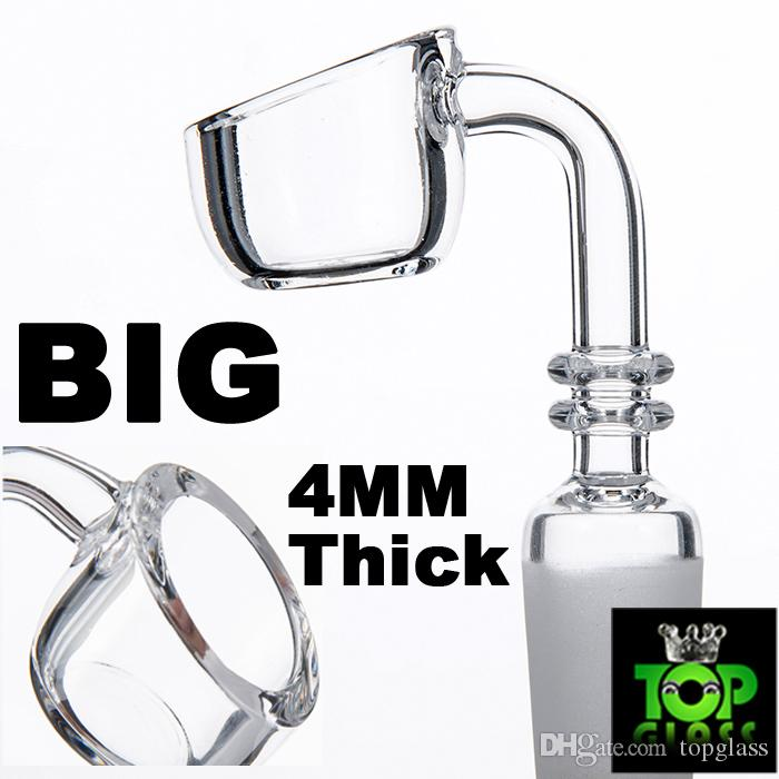 4MM thick Quartz Banger Nail 90 Degree BIG Bowl Domeless Pure Crystal 10/14/19mm Male Female for glass bongs, water pipes